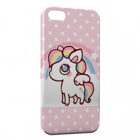 Coque iPhone 5 & 5S Cute Unicorn Licorne Pink