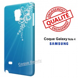 Galaxy Note 4 Blue Style & White Flowers